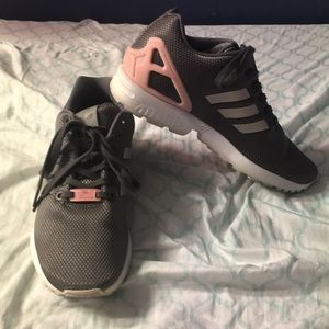 Adidas grey and pink tennis shoes